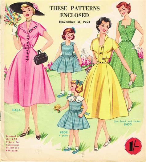clothes pattern magazine 1950s australian home journal magazine 3 dress patterns