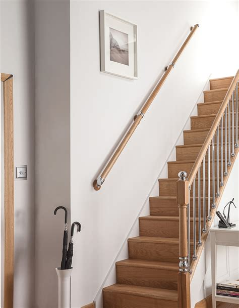 Chrome Banisters Wall Handrail Axxys Box Set Pine With Chrome Brackets