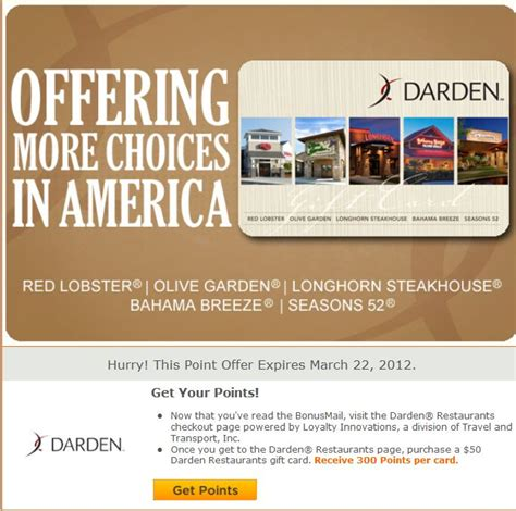 Darden Gift Card Promo Code - mypoints offer 300 points for 50 darden gift card who said nothing in life is free