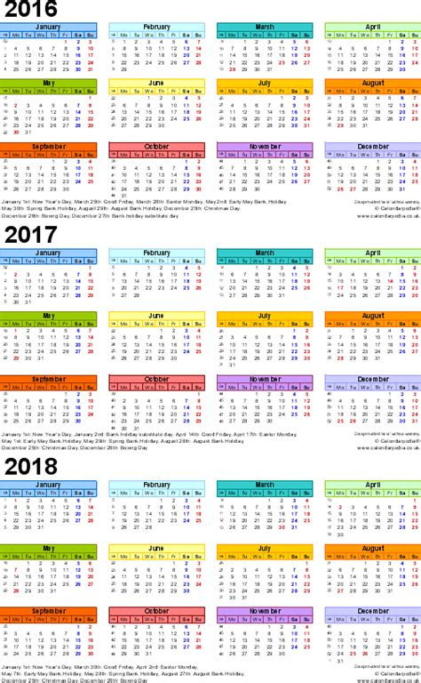 Printable Calendar 2016 To 2018 Three Year Calendars For 2016 2017 2018 Uk For Word