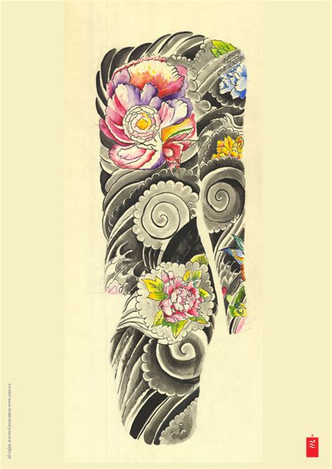 japanese bodysuit tattoo designs japanese flowers and wave tattoos on sleeve