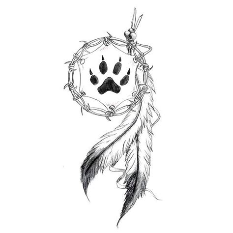 indian feather and bear print tattoo design
