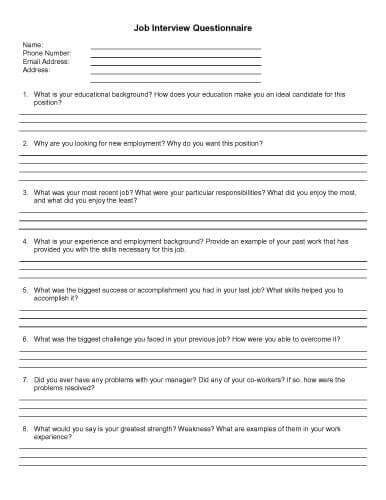 32 Sle Questionnaire Templates In Microsoft Word Candidate Questionnaire Template
