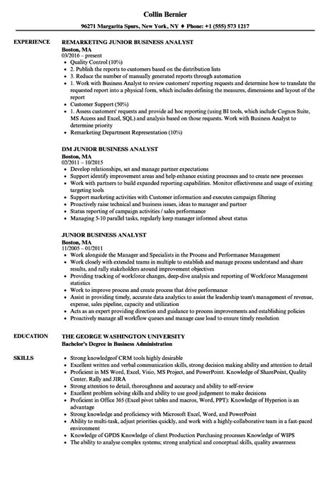 Junior Business Analyst Resume by Junior Business Analyst Resume Sles Velvet