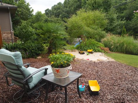 Home Garden Design Atlanta View From Mulched Play Area To Tropical Sand