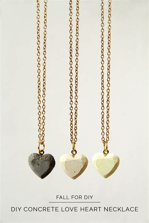 how to make concrete jewelry diy concrete hearts necklace fall for diy
