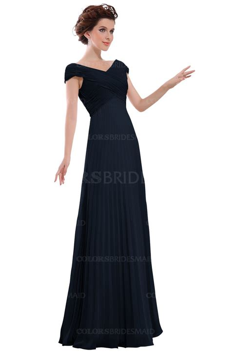 Casual In Navy Blue navy blue casual v neck zipper chiffon pleated bridesmaid
