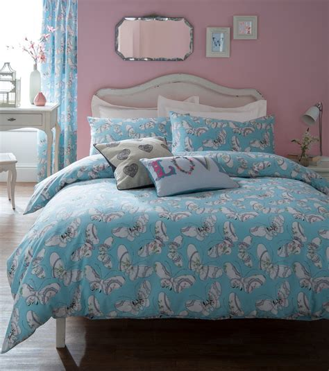 light blue double duvet cover light pastel blue and white butterfly pattern single