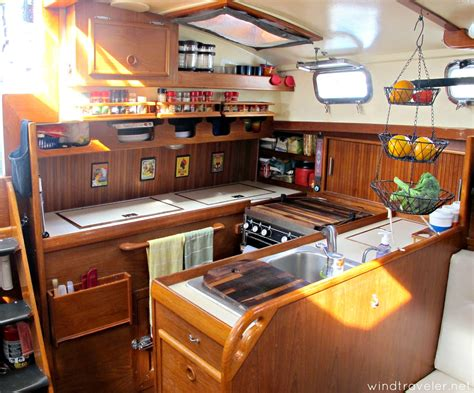 small boat kitchen ideas windtraveler our boat interior a photo tour