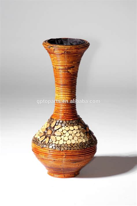 Large Corner Vase by 80cm Coarse Rattan Vase Woven Pattern Bottle Wood