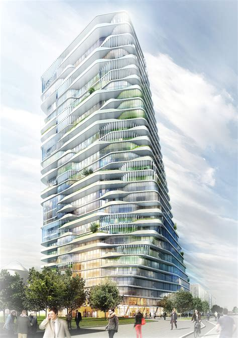 porsche design tower construction gr 252 ntuch ernst architekten s layered scheme wins porsche