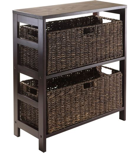 storage shelf with baskets in wicker baskets