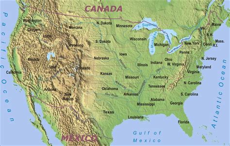 physical map of the united states for map of usa states geography