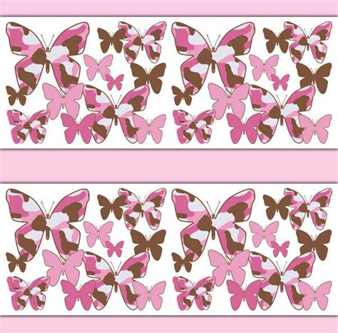 F3 5l5 Wallpaper Sticker Bunga pink brown camo butterfly wallpaper border wall decal