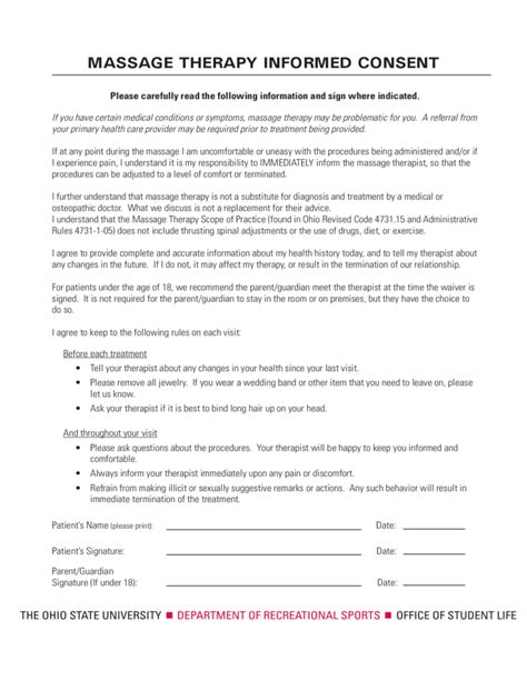 Massage Therapy Informed Consent Ohio Free Download Therapy Informed Consent Form Template