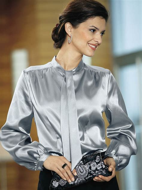 Blouse Katun C Bow tie neck satin blouse satin blouse see best ideas about satin blouses and satin