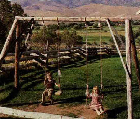 log swing set building with logs log framing diy mother earth news