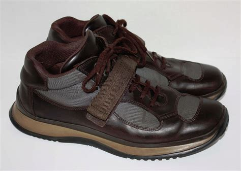 mens brown leather sneakers mens prada brown leather sneakers shoes size 10 ebay