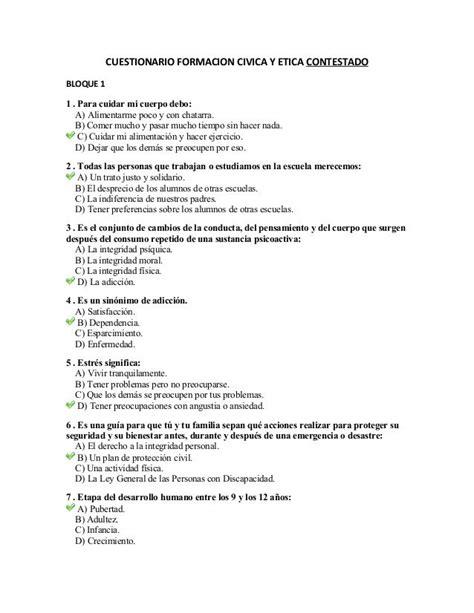 libros escolares contestados de 5 civica examen de formaci 243 n c 237 vica y 201 tica contestado by