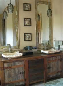 reclaimed wood vanity rustic bath cabinetry log cabin
