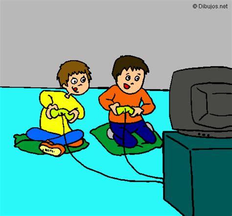 imagenes de niños jugando videojuegos animados dibujo de ni 241 os jugando pintado por videojuegos en dibujos