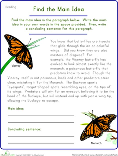 Idea Worksheets 5th Grade by Find The Idea Viceroy Butterfly Worksheet