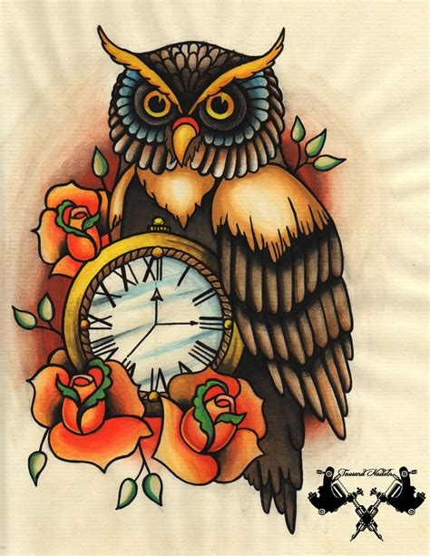 owl tattoo flash flash owl and pocket by tausend nadeln on