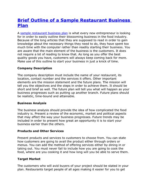 business plan template for a restaurant best photos of sle business plan pdf sle business