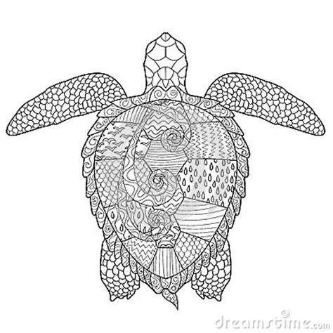 turtle coloring book for adults stress relieving coloring book for teenagers advanced coloring pages detailed pages therapy meditation practice books antistress coloring page with turtle stock vector