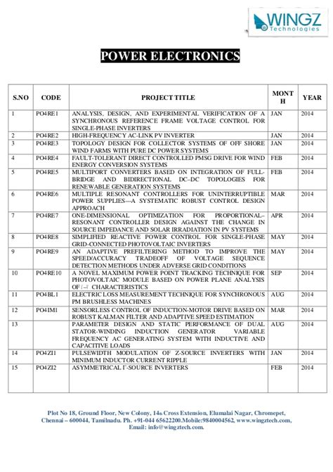 Mba Year Projects In Chennai by Ieee 2014 Power Electronics Project List In Chennai