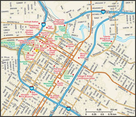 texas downtown map houston map guide to houston texas