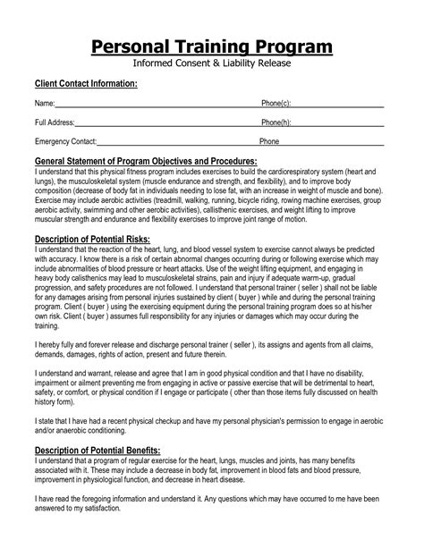 Informed Consent Form Personal Training Google Search Health And Fitness Pinterest Workout Waiver Template