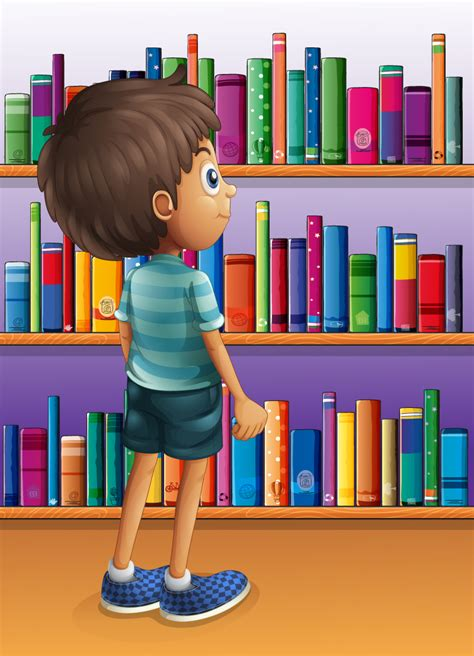 bookshelf with boys vector free vector graphic