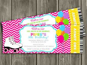 roller skating ticket birthday invitation pink chevron