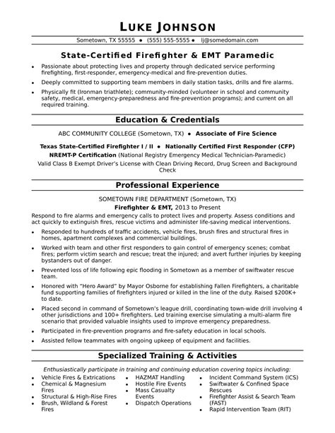 Firefighter Resume Sle Monster Com Firefighter Resumes Templates
