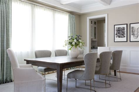 Gray Stained Dining Table Walnut Stained Dining Table With Gray Linen Dining Chairs Transitional Dining Room