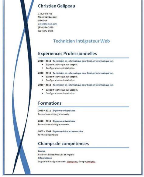 Modele Pour Faire Un Cv by Exemples Mod 232 Les De Cv Gratuit Word Photoshop