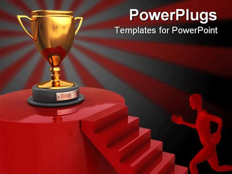 awards presentation template abstract 3d illustration of stairway to winner trophy