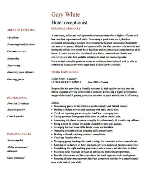 sle cv for receptionist in hotel sle curriculum vitae hotel receptionist 100 curriculum