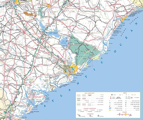 and south carolina beaches map map of south carolina cost with beaches