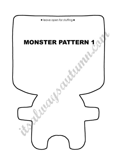 mosnter template free easy sewing pattern for felt dolls craft