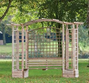 garden bench with trellis trellis arbour with planters