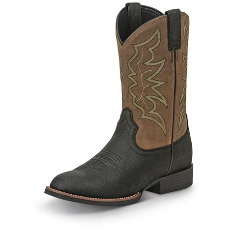 justin mens cowboy boots justin s stede toe western boots 676213
