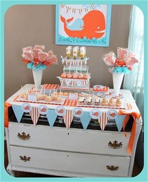 Orange Baby Shower Themes by Orange And Blue Whale Baby Shower Baby Shower