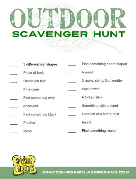 1000 ideas about outdoor scavenger hunts on pinterest