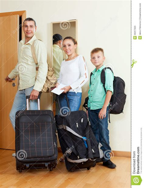 Family Door by Family Of Two Adalts And Boy By The Door Going For