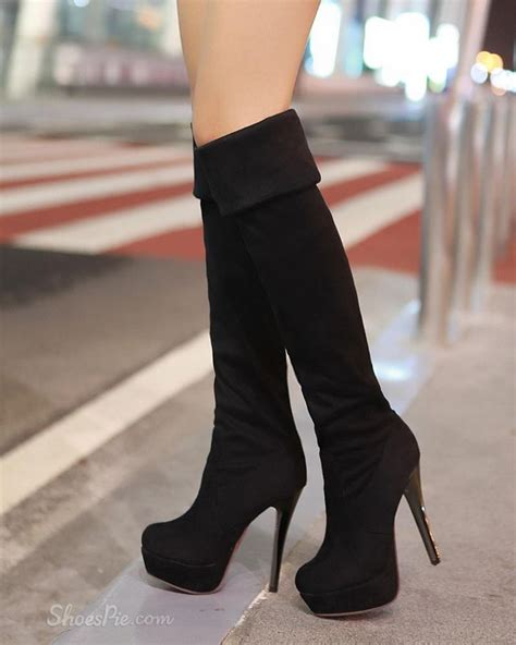 black knee high boots with heel knee high heels boots i ll walk all you