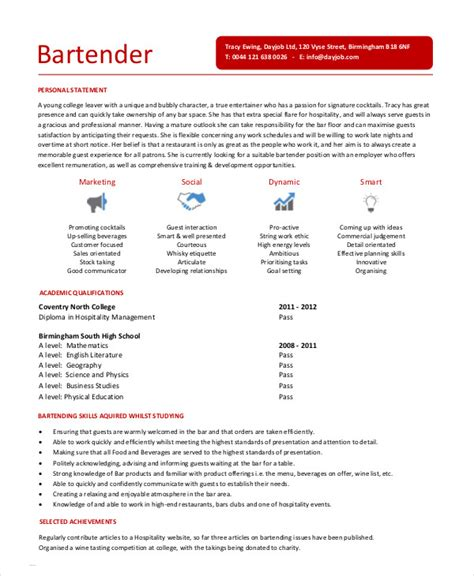 Bartender Templates by Bartending Resume Templates
