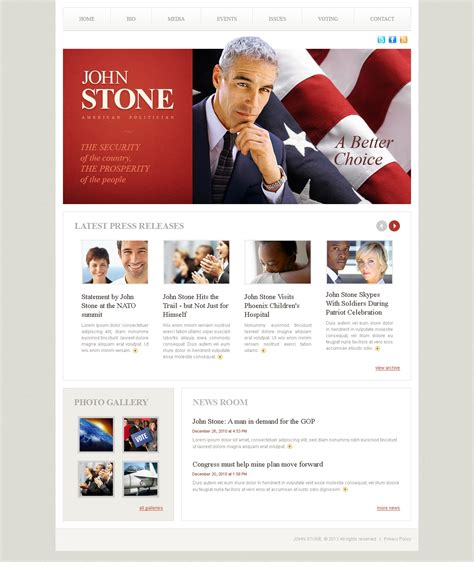 Political Candidate Website Template 39235 Candidate Website Template