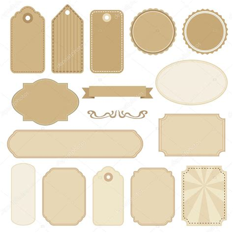 Set Of Colored Labels Vector Free Set Of Blank Vintage Frames Tags And Labels Vectors